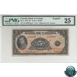 BC-5 1935 Bank of Canada English $5, Osborne-Towers, S/N: A144090-B PMG Certified VF-25.