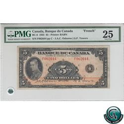 BC-6 1935 Bank of Canada French $5, Osborne-Towers, S/N: 062644/F PMG VF-25.