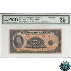 BC-6 1935 Bank of Canada French $5, Osborne-Towers, S/N: F062769-B PMG Certified VF-25 (rust)