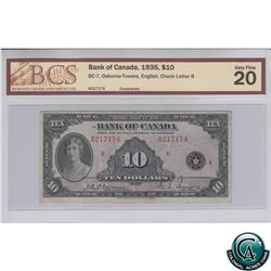 BC-7 1935 Bank of Canada English $10, Osborne-Towers, S/N: 217174/B BCS Certified VF-20.