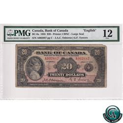 BC-9a 1935 Bank of Canada English $20, Large Seal, Osborne-Towers, S/N: 002887/C PMG Certified F-12.