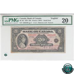 BC-9b 1935 Bank of Canada English $20, Small Seal, Osborne-Towers, S/N: 068406/A PMG VF-20.