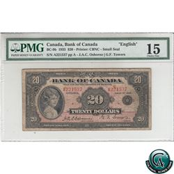 BC-9b 1935 Bank of Canada English $20, Small Seal, Osborne-Towers, S/N: A221537-A PMG Certified Choi