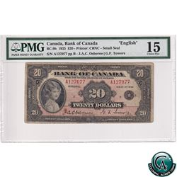 BC-9b 1935 Bank of Canada English $20, Small Seal, Osborne-Towers, S/N: 127077/B PMG Certified Choic