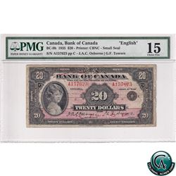 BC-9b 1935 Bank of Canada English $20, Small Seal, Osborne-Towers, S/N: 157623/C PMG Certified Choic