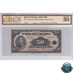 BC-13 1935 Bank of Canada English $50, Osborne-Towers, S/N: A00286-B BCS Certified VF-30 Low Serial