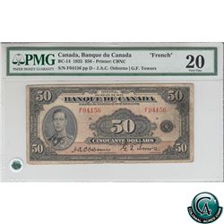 BC-14 1935 Bank of Canada $50, French, Osborne-Towers, S/N: 04156/F PMG VF-20. *Rare Note*