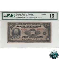 BC-15 1935 Bank of Canada English $100. Osborne-Towers, S/N: A00826-A PMG Certified Choice F-15 (ann