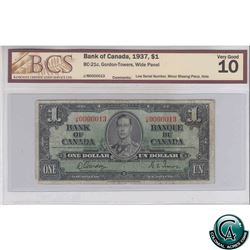 BC-21c 1937 Bank of Canada $1, Gordon-Towers, Wide Panel, JM 00000013, Low Serial Number, BCS VG-10