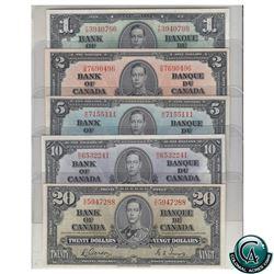1937 Bank of Canada $1 BC-21d, $2 BC-22b, $5 BC-23b, $10 BC-24b & $20 BC-25b Banknotes all in VF-EF
