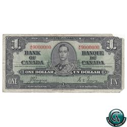 BC-21d-N3 Million Numbered 1937 Bank of Canada $1, Coyne-Towers, MN 9000000, Fine Condition (missing