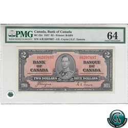BC-22c 1937 Bank of Canada $2, Coyne-Towers, S/N: A/R6207697 PMG Certified CUNC-64