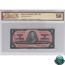 BC-22S 1937 Bank of Canada SPECIMEN $2, S/N: A/B0000000 BCS Certified AU-58 (glue residue). Only 48