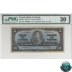 BC-23a 1937 Bank of Canada $5, Osborne-Towers, S/N: A/C8768894 PMG Certified VF-30 (stain)
