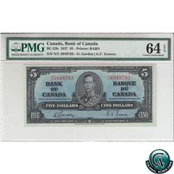 BC-23b 1937 Bank of Canada $5, Gordon-Towers, S/N: N/C6949793 PMG Certified CUNC-64 EPQ!
