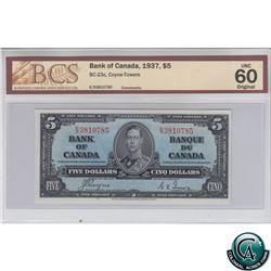 BC-23c 1937 Bank of Canada $5, Coyne-Towers, S/N: E/S3810785 BCS Certified UNC-60 Original!