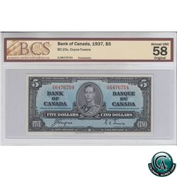 BC-23c 1937 Bank of Canada $5, Coyne-Towers, S/N: A/S6476754 BCS Certified AU-58 Original!