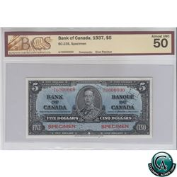 BC-23S 1937 Bank of Canada SPECIMEN $5, S/N: A/C0000000 BCS Certified AU-50 (glue residue). Only 47