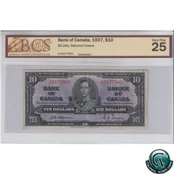 BC-24a 1937 Bank of Canada $10, Osborne-Towers, S/N: A/D2477563 BCS Certified VF-25