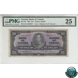BC-24a 1937 Bank of Canada $10, Osborne-Towers, S/N: A/D4624877 PMG Certified VF-25.