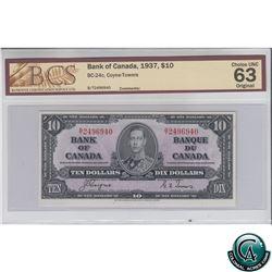 BC-24c 1937 Bank of Canada $10, Coyne-Towers, S/N: B/T2496940 BCS Certified CUNC-63 Original.