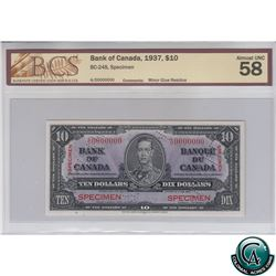 BC-24S 1937 Bank of Canada SPECIMEN $10, S/N: A/D0000000 BCS Certified AU-58 (minor glue residue). O