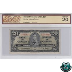 BC-25a 1937 Bank of Canada $20. Osborne-Towers, S/N: A/E1563852 BCS Certified VF-20.