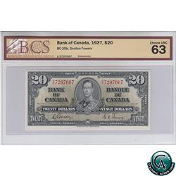 BC-25b 1937 Bank of Canada $20, Gordon-Towers, S/N: E/E7297667 BCS Certified CUNC-63!