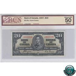BC-25c 1937 Bank of Canada $20, Coyne-Towers, LE 0815598, BCS AU-50 Original