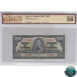 BC-25S 1937 Bank of Canada SPECIMEN $20, S/N: A/E0000000 BCS Certified AU-58 (glue residue). Only 47