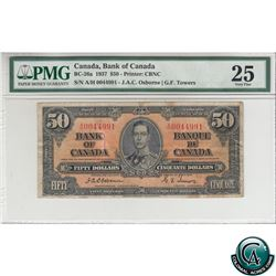 BC-26a 1937 Bank of Canada $50. Osborne-Towers, S/N: A/H0044991 PMG Certified VF-25 (ink, stains).