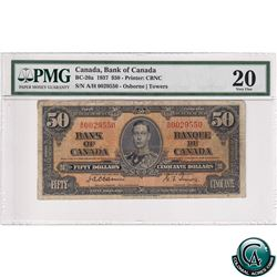 BC-26a 1937 Bank of Canada $50, Osborne-Towers S/N: A/H0029550, PMG Certified VF-20.