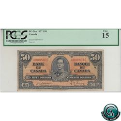 BC-26a 1937 Bank of Canada $50 Osborne-Towers, S/N: A/H0098035 PCGS Certified F-15.