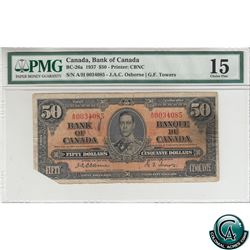 BC-26a 1937 Bank of Canada $50. Osborne-Towers, S/N: A/H0034085 PMG Certified Choice F-15 (missing c