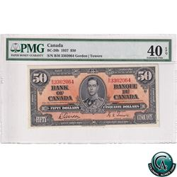 BC-26b 1937 Bank of Canada $50, Gordon-Towers, S/N: B/H3302064, PMG Certified EF-40 EPQ