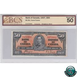 BC-26c 1937 Bank of Canada $50, Coyne-Towers, Changeover, BH 4753692, BCS AU-50 (stains)