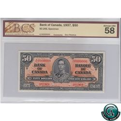 BC-26S 1937 Bank of Canada SPECIMEN $50, S/N: A/H0000000 BCS Certified AU-58 (glue residue). Only 47