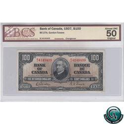 BC-27b 1937 Bank of Canada $100, Gordon-Towers, BJ 4149409, BCS AU-50 Original