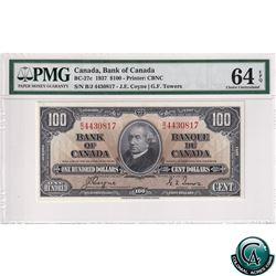 BC-27c 1937 Bank of Canada $100, Coyne-Towers, S/N: B/J4430817, PMG Certified CUNC-64 EPQ Bright vib