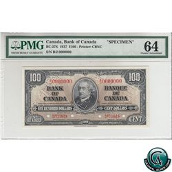BC-27S 1937 Bank of Canada SPECIMEN $100, S/N: B/J0000000 PMG Certified CUNC-64 (previously mounted)