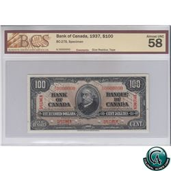 BC-27S 1937 Bank of Canada SPECIMEN $100, S/N: A/J0000000 BCS Certified AU-58 (glue residue, tape).