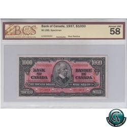 BC-28S 1937 Bank of Canada SPECIMEN $1000, A/K Prefix BCS Certified AU-58 (glue residue). *RARE* A s