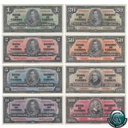 1937 SPECIMEN Bank Note Set of 8! ($1-$1000) ALL PMG Certified! Very Scarce! A Complete Set of 8 193