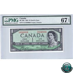 BC-29a 1954 Bank of Canada Devil's Face $1, Coyne-Towers, S/N: E/A9240664 PMG Certified Superb Gem U