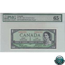 BC-29b 1954 Bank of Canada $1, Devil's Face, Beattie-Coyne, S/N: K/A3881765, PMG Certified GUNC-65 E