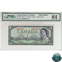 BC-29S 1954 Bank of Canada Devil's Face SPECIMEN $1, S/N: AA0000000. (#0053) PMG Certified Choice UN