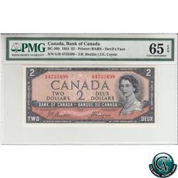 BC-30b 1954 Bank of Canada Devil's Face $2, Beattie-Coyne, S/N: G/B4733498 PMG Certified Gem UNC-65