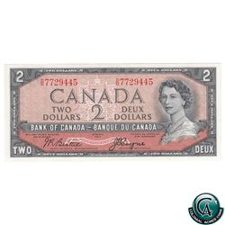 BC-30b 1954 Bank of Canada $2, Devil's Face, Beattie-Coyne, S/N: D/B7729445, CUNC-64