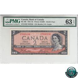 BC-30b 1954 Bank of Canada Devil's Face $2, Beattie-Coyne, S/N: H/B7648186 PMG Certified CUNC-63 EPQ