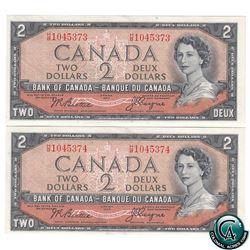 Consecutive BC-30b 1954 Bank of Canada $2, Devil's Face, Beattie-Coyne, S/N: H/B1045373 (UNC-60) & H